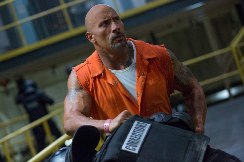 """This image released by Universal Pictures shows Dwayne Johnson in """"The Fate of the Furious."""" (Universal Pictures via AP)"""
