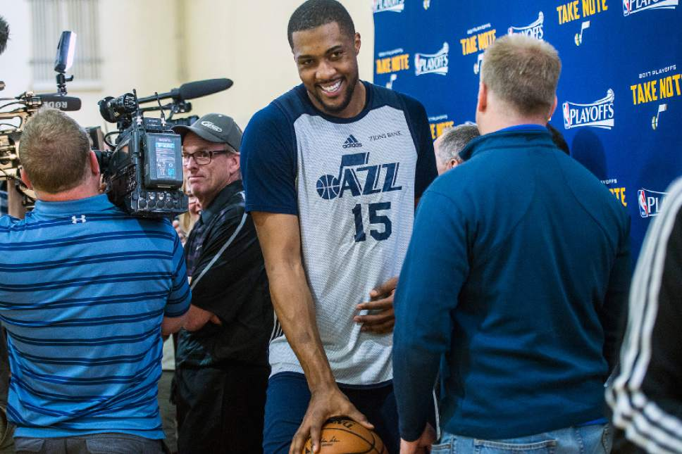 Chris Detrick  |  The Salt Lake Tribune Utah Jazz forward Derrick Favors (15) during a practice at UCLA Student Activities Center Monday, April 17, 2017.
