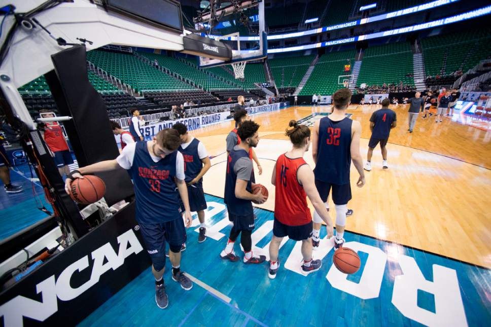 Trent Nelson |  The Salt Lake Tribune  Gonzaga practices during NCAA Tournament in Salt Lake City on Wednesday, March 15, 2017.
