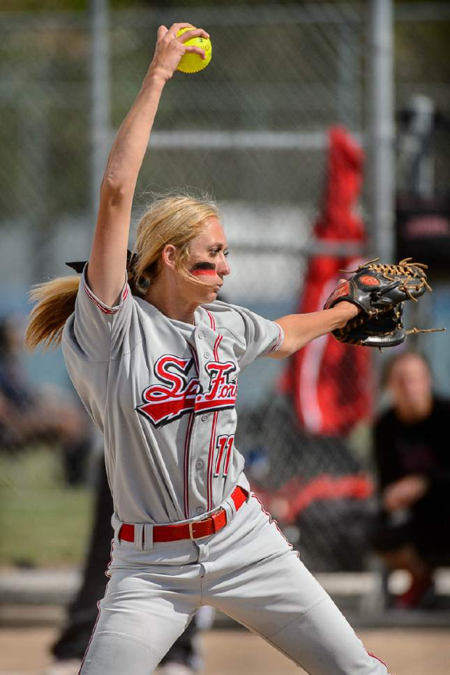 Trent Nelson  |  The Salt Lake Tribune Spanish Fork's Cambrie Hazel pitches as Spanish Fork defeats Maple Mountain in the 4A high school softball championship game, Taylorsville, Thursday May 26, 2016.