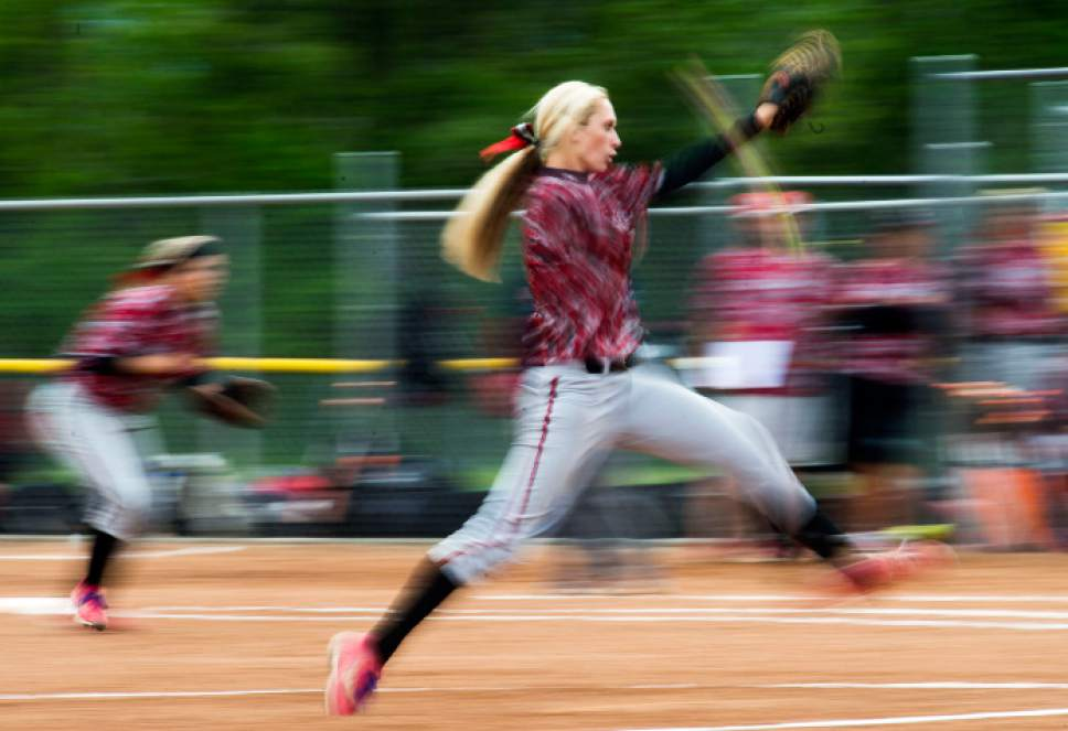 Steve Griffin  |  The Salt Lake Tribune  Spanish Fork pitcher Cambrie Hazel winds up for a pitch during regular-season matchup between Class 4A #1-ranked Spanish Fork and #2 Springville at Springville High School in Springville, Thursday, May 7, 2015.