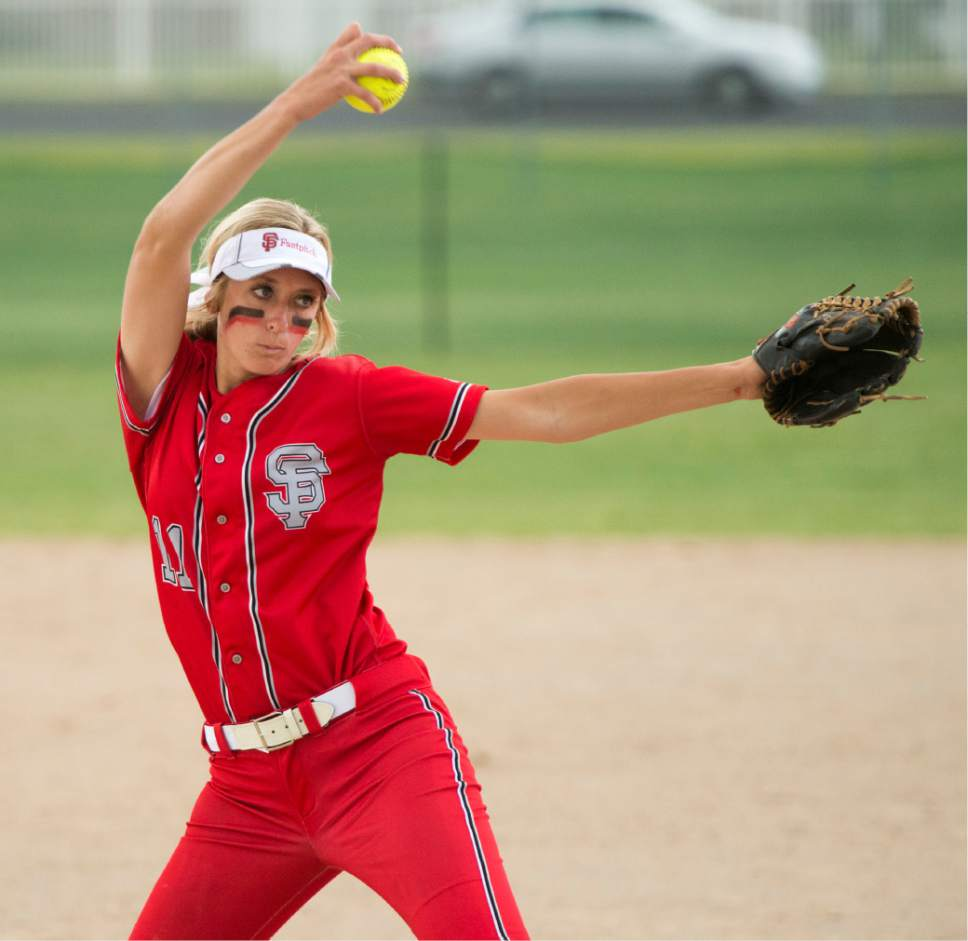 Rick Egan  |  The Salt Lake Tribune  Cambrie Hazel (11) pitches for the Spanish Fork Dons, in softball action vs.  Maple Mountain, in the prep 4A semi-finals,  in West Jordan, Wednesday, May 25, 2016.
