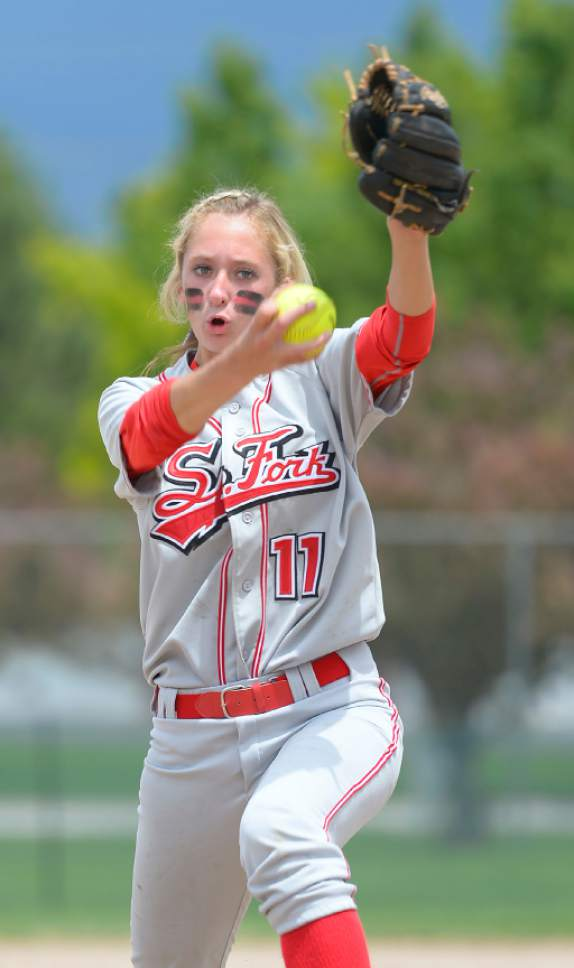Leah Hogsten  |  The Salt Lake Tribune Spanish Fork pitcher Cambrie Hazel. Spanish Fork High School girls softball team defeated Springville High School 7-1 during their 4A state semifinal game Thursday, May 21, 2015 at the Taylorsville Valley Softball Complex.