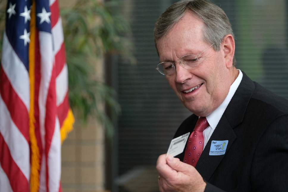 Francisco Kjolseth | The Salt Lake Tribune Former Utah Governor Mike Leavitt remarks on his organ donor designation on his drivers license during a celebration of the creation of the digital Yes Utah Donor Registry 15 years ago. Leavitt played a key role in making the registry more accessible through online registration.
