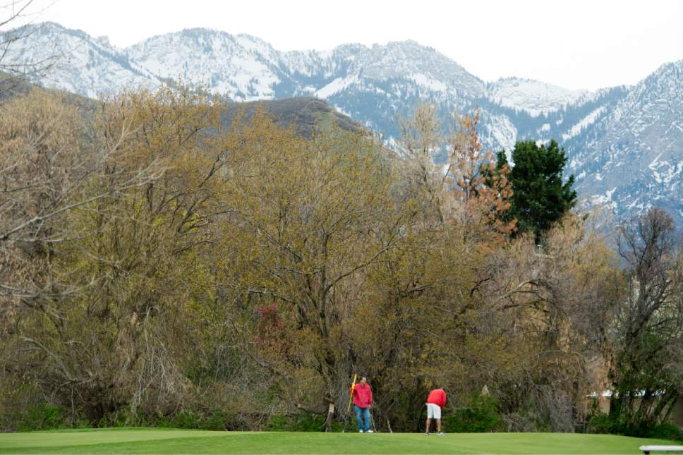 Rick Egan  |  The Salt Lake Tribune  Dan Worrell and Ward Cline play a round of golf at Bonneville Golf Course, Friday, April 7, 2017.