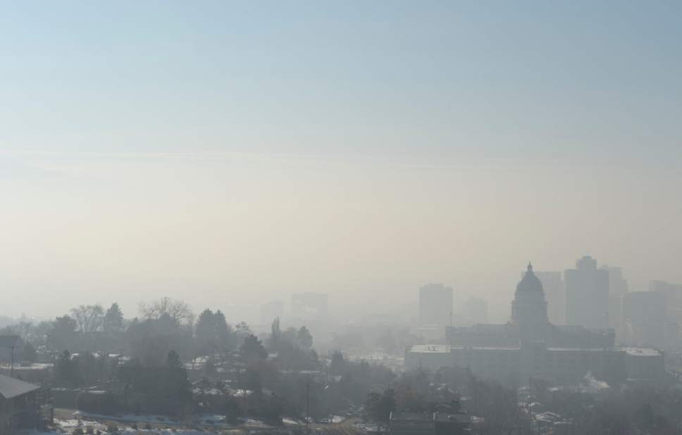 Francisco Kjolseth  |  The Salt Lake Tribune The pollution plagued Salt Lake valley is obscured by another red-air day on Wednesday, Jan. 22, 2014.