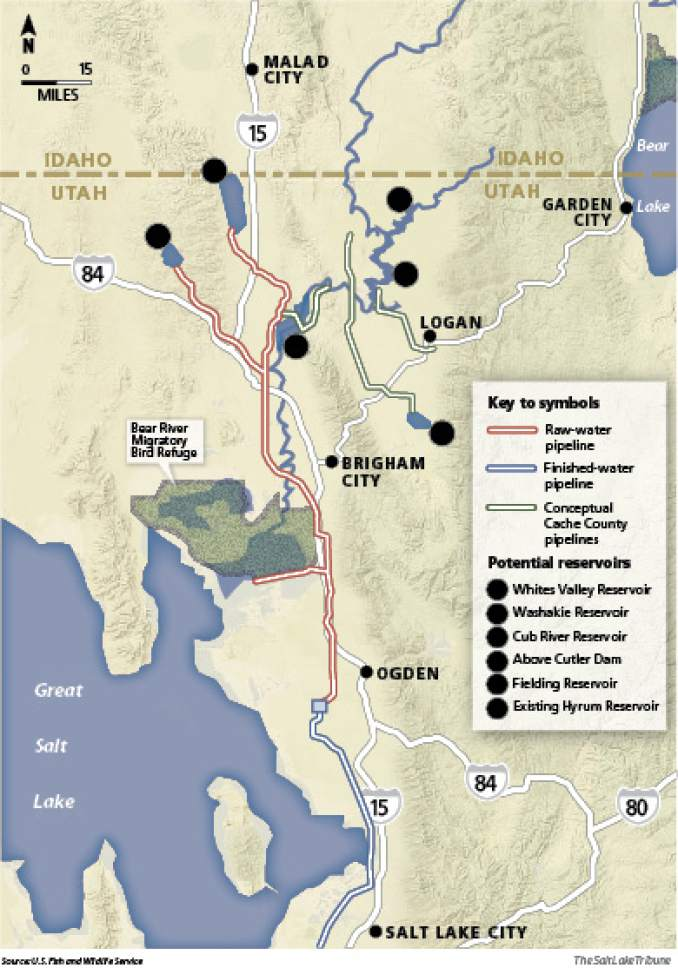 "Tapping the Bear River watershed A massive, $1.5 billion project calls for damming the Bear River in multiple locations to ""store"" 220,000 acre feet of water that eventually will flow through a 50-mile pipeline to be sprinkled on lawns from Ogden to the Oquirrh Mountains."