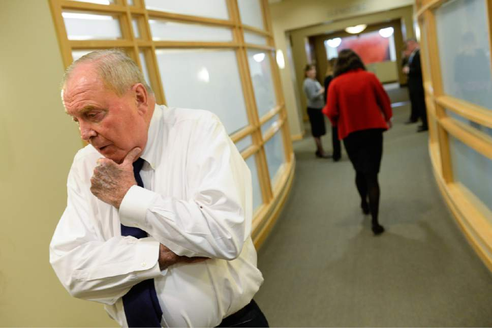 Francisco Kjolseth | The Salt Lake Tribune Mary Beckerle, acclaimed researcher at Hunstman Cancer Institute who was fired from her post as CEO and director of the Institute, walks away as Cancer Institute founder Jon Huntsman Sr. expresses his displeasure with the news on Tuesday, April 18, 2017. In an email sent Monday afternoon, Vivian Lee, senior Vice President of Health Sciences at the University of Utah announced the departure without reason.