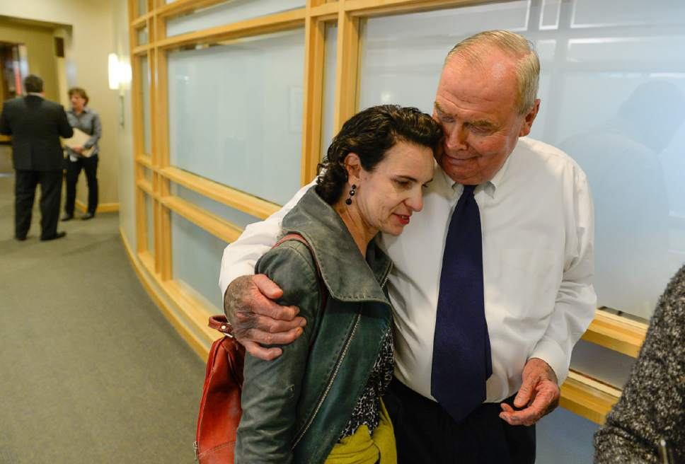 Francisco Kjolseth | The Salt Lake Tribune Professor Jody Rosenblatt is comforted by Huntsman Cancer Institute founder Jon Huntsman Sr. following the unexpected news that Mary Beckerle, acclaimed researcher at Hunstman Cancer Institute was fired from her post as CEO and director of the Institute. In an email sent Monday afternoon, Vivian Lee, senior Vice President of Health Sciences at the University of Utah announced the departure without reason.