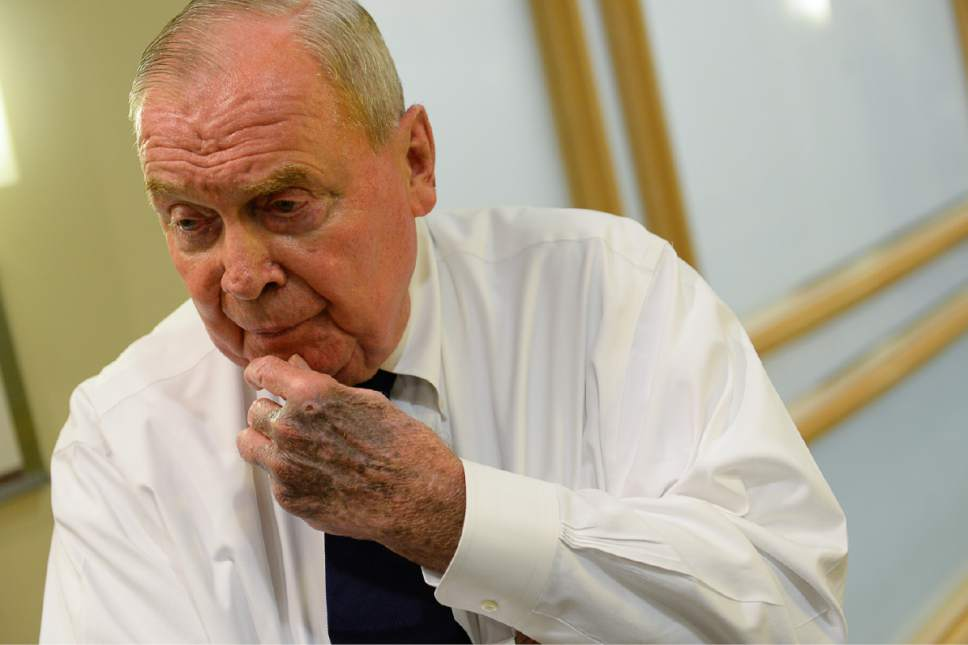 Francisco Kjolseth | The Salt Lake Tribune Hunstman Cancer Institute founder Jon Huntsman Sr. expresses his displeasure with the news that Mary Beckerle, acclaimed researcher at Hunstman Cancer Institute was fired from her post as CEO and director of the Institute.  In an email sent Monday afternoon, Vivian Lee, senior Vice President of Health Sciences at the University of Utah announced the departure without reason.