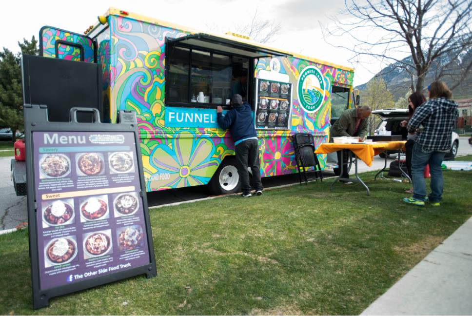 Rick Egan  |  The Salt Lake Tribune  The Other Side Food Truck sells sweet and savory gourmet funnel cakes. The Truck is a part of the Other Side Academy, a non-profit that helps disadvantaged adults get their lives back on track through hard work and discipline, Thursday, April 6, 2017.
