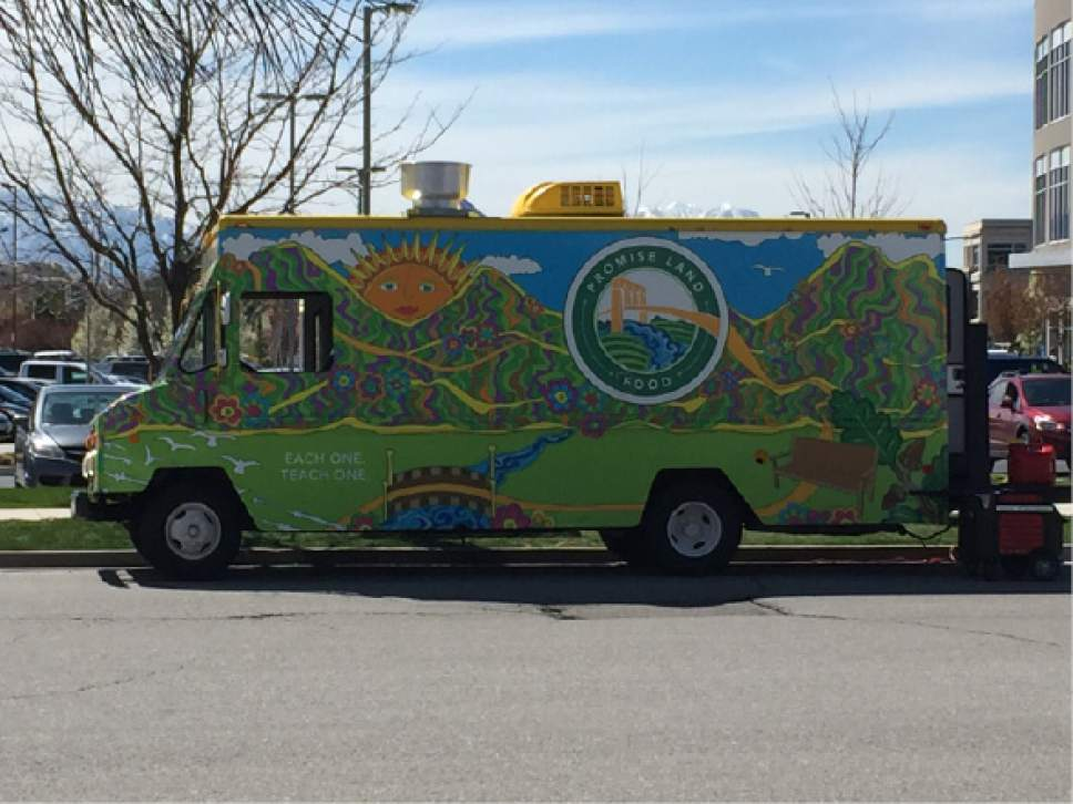Kathy Stephenson  |  The Salt Lake Tribune  The Other Side Food Truck sells sweet and savory funnel cakes and is easy to spot thanks to its colorful exterior.