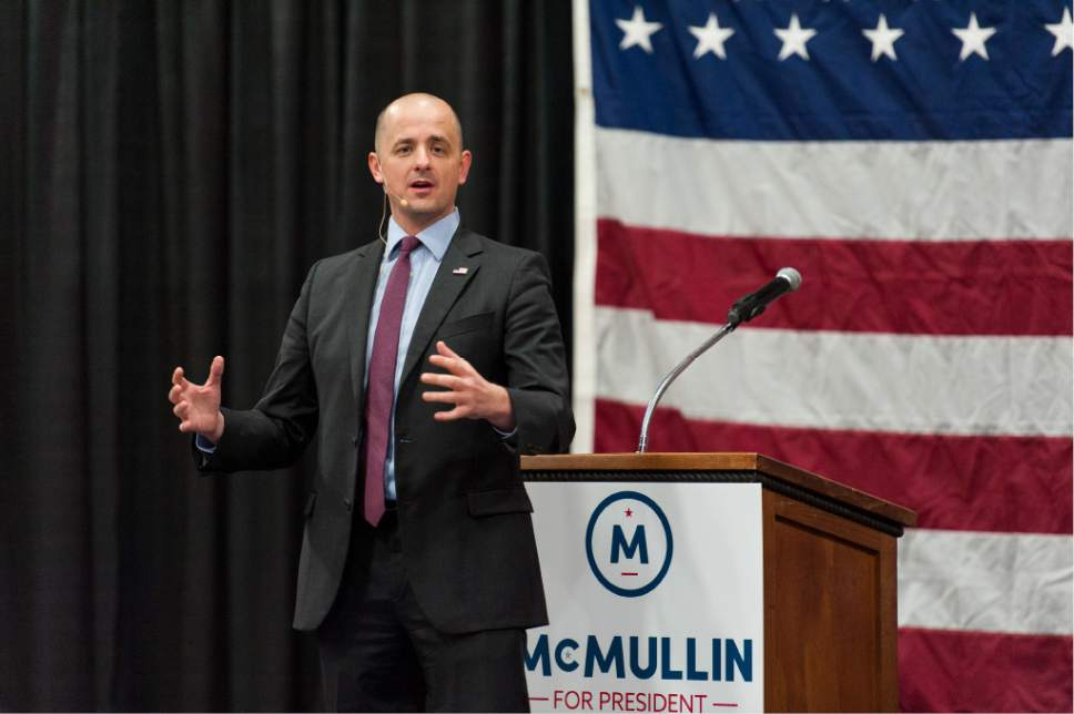 Independent presidential candidate Evan McMullin speaks at a rally in Draper, Friday, Oct  21, 2016 (Alex Gallivan/Special to the Tribune)