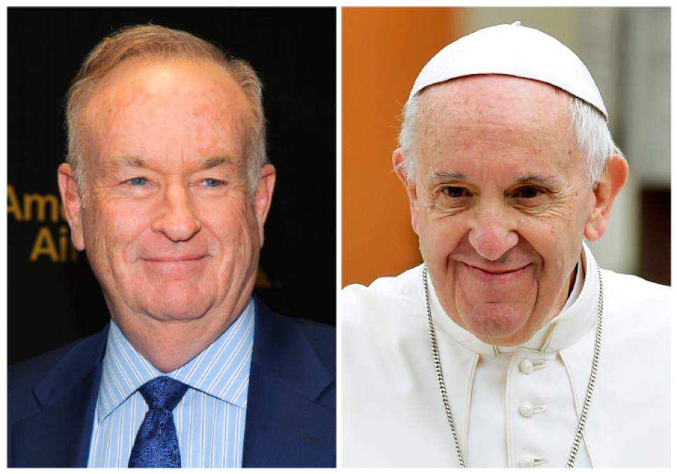 """FILE - In this combination photo, Fox News Channel personality Bill O'Reilly appears at The Hollywood Reporter's """"35 Most Powerful People in Media"""" celebration on April 6, 2016, in New York, left, and Pope Francis leaves after celebrating Mass in Piazza Martiri Square, in Carpi, northern Italy, on April 2, 2017.   O'Reilly has had a brief handshake with Pope Francis as sexual harassment allegations dog him at home in the U.S. He is on a two-week vacation that on Wednesday took him to Francis' general audience in St. Peter's Square. His trip came as Fox News Channel's parent company weighs accusations that a woman's career was slowed when she spurned O'Reilly's advances. Dozens of his show's advertisers have fled following reports of harassment settlements paid to other women. O'Reilly has denied wrongdoing. (AP Photo/Andy Kropa, left, Marco Vasini, Files)"""