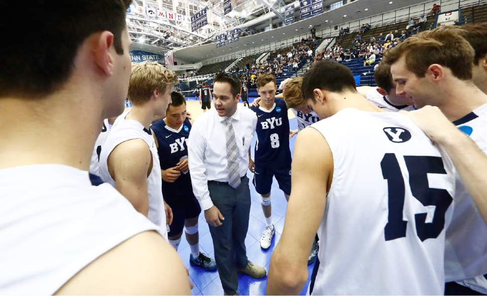Olmstead, Shawn_W2_1452  BYU Head Coach Shawn Olmstead speaks with his team prior to the match. The BYU Men's Volleyball defeated Long Beach State 3-1 in the Semi-Final Match of the NCAA Volleyball Championships, hosted by Penn State in University Park, Pennsylvania.  April 5, 2016  Photo by Jaren Wilkey/BYU  © BYU PHOTO 2016 All Rights Reserved photo@byu.edu  (801)422-7322