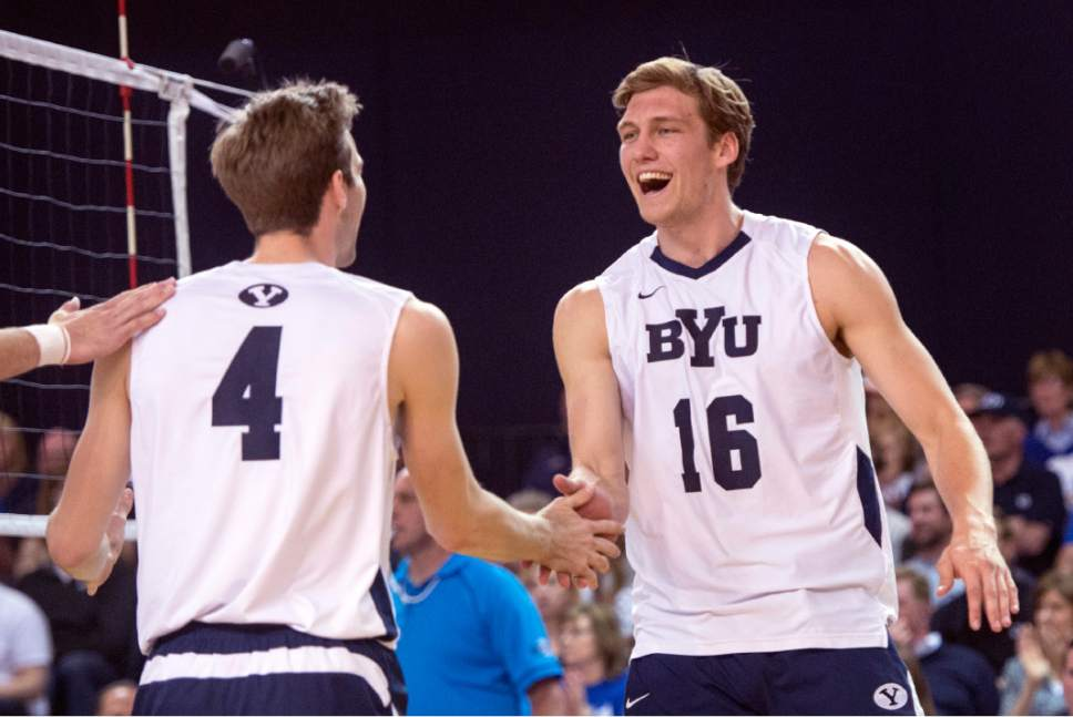 Rick Egan  |  The Salt Lake Tribune  Leo Durkin (4) and Tim Dobbert (16) celebrate a big point for BYU, in Volleyball action, BYU vs. Stanford, at the Smith Field House in Provo,  Saturday, April 15, 2017.