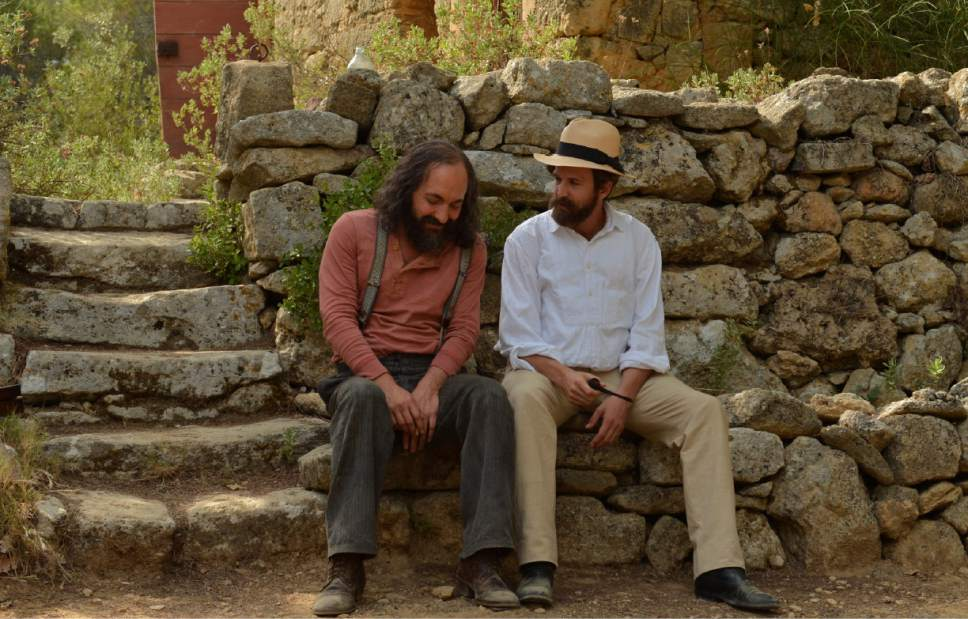 """The painter Paul Cezanne (Guillaume Galliene, left) and the writer Emile Zola (Guillaume Canet) reminisce in the biographical drama """"Cezanne and I."""" Courtesy Magnolia Pictures"""