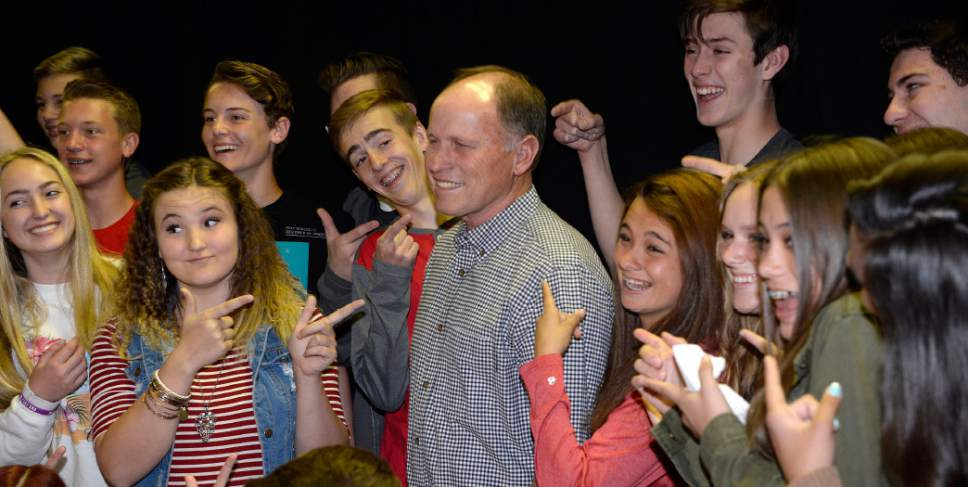 Al Hartmann  |  The Salt Lake Tribune Spanish Fork Jr. High School students ham it up for a photo of their biology teacher J. Merrill Hallam who was just named a winner in 2017's Huntsman Awards for Excellence in Education Wednesday April 19.