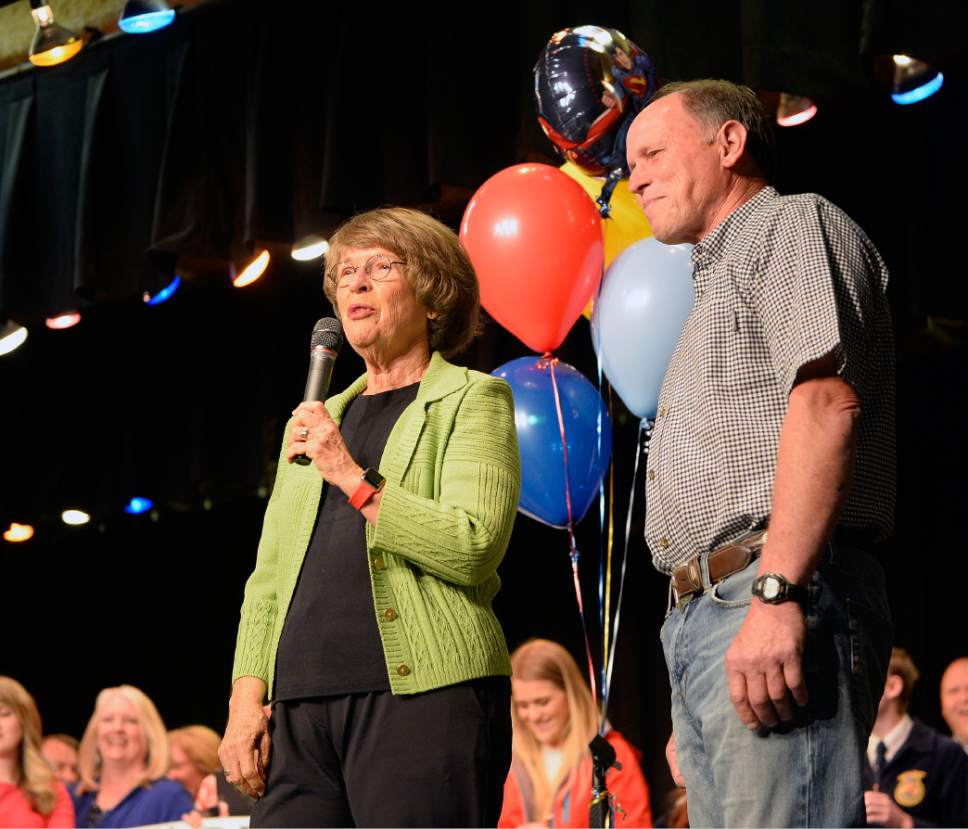 Al Hartmann  |  The Salt Lake Tribune Karen Huntsman announces the first winner of 2017's Huntsman Awards for Excellence in Education to biology teacher J. Merrill Hallam at Spanish Fork Jr. High School Wednesday April 19.