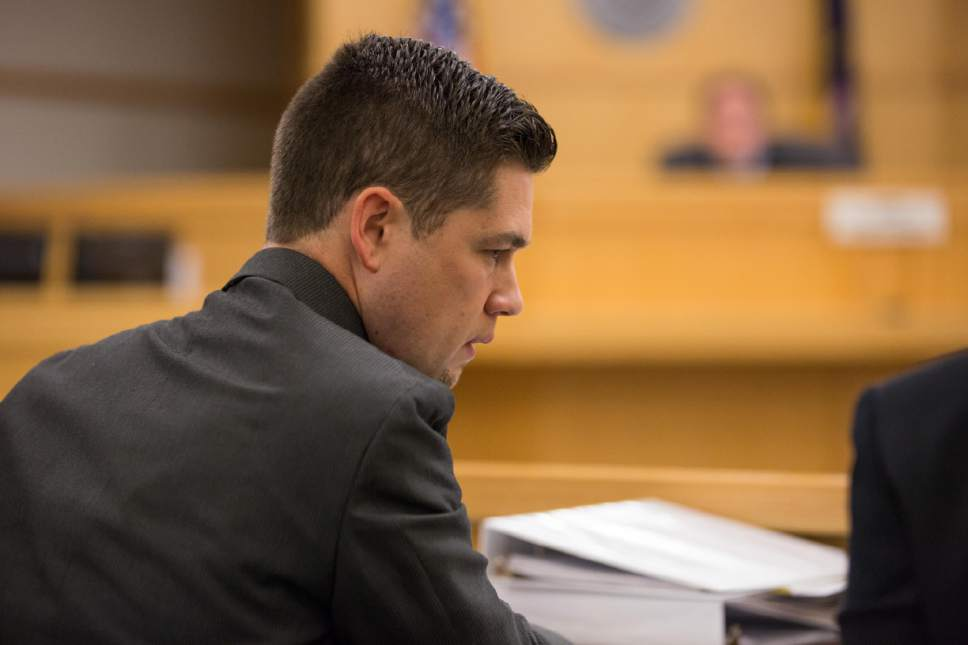 County Prosecutor Spencer Walsh appears in court during Former Utah State University Linebacker Torrey Green's hearing in 1st District Court on Wednesday, April 19. Green is charged with six counts of rape, one count of aggravated kidnapping, three counts of forcible sex abuse and two counts of object rape. (Tim Carpenter/Utah Statesman)