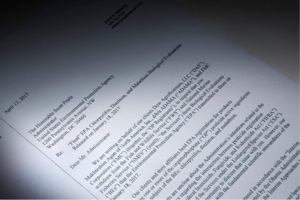 """This letter obtained by the Associated Press and photographed in the news agency's Washington bureau, Wednesday, April 19, 2017, was sent to EPA Administrator Scott Pruitt by attorneys representing Dow Chemical requesting the EPA """"to set aside"""" the results of government studies they claimed were fundamentally flawed. Dow Chemical CEO Andrew Liveris is a close adviser to President Donald Trump. The company gave $1 million for Trump's inaugural activities. (AP Photo)"""