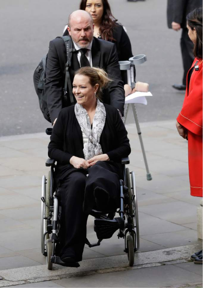 "Matt Dunham  |  The Associated Press Injured U.S. tourist Melissa Cochran, whose husband Kurt Cohran was killed in the March 22 London terror attack, has returned to West Bountiful after attending a ""Service of Hope"" at Westminster Abbey earlier this month."