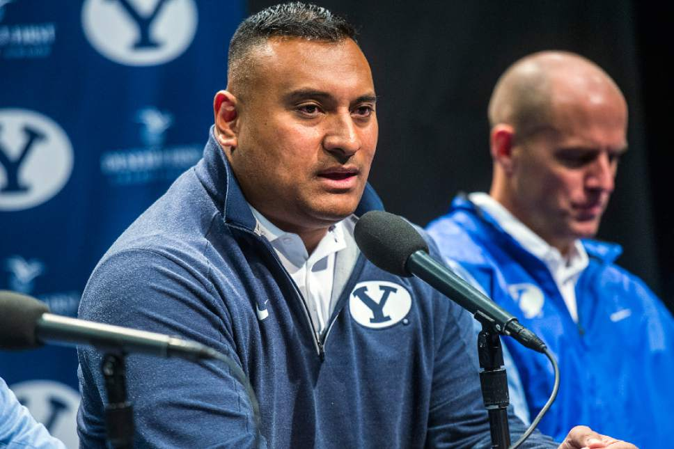 Chris Detrick  |  The Salt Lake Tribune Head football coach Kalani Sitake speaks during a press conference at the BYU broadcasting building Wednesday February 1, 2017.