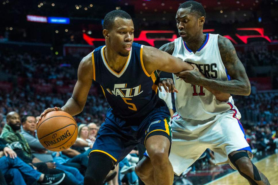 Chris Detrick  |  The Salt Lake Tribune Utah Jazz guard Rodney Hood (5) grabs the ball past LA Clippers guard Jamal Crawford (11) during Game 1 of the Western Conference at the Staples Center Saturday, April 15, 2017.  Utah Jazz defeated LA Clippers 97-95.