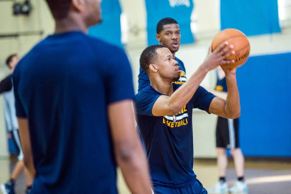 Chris Detrick  |  The Salt Lake Tribune Utah Jazz guard Rodney Hood (5) during a practice at UCLA Student Activities Center Monday, April 17, 2017.