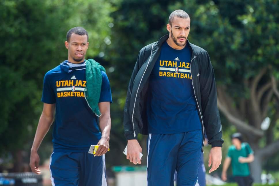 Chris Detrick  |  The Salt Lake Tribune Utah Jazz center Rudy Gobert (27) and Utah Jazz guard Rodney Hood (5) walk around UCLA after a practice at the Student Activities Center Monday, April 17, 2017.