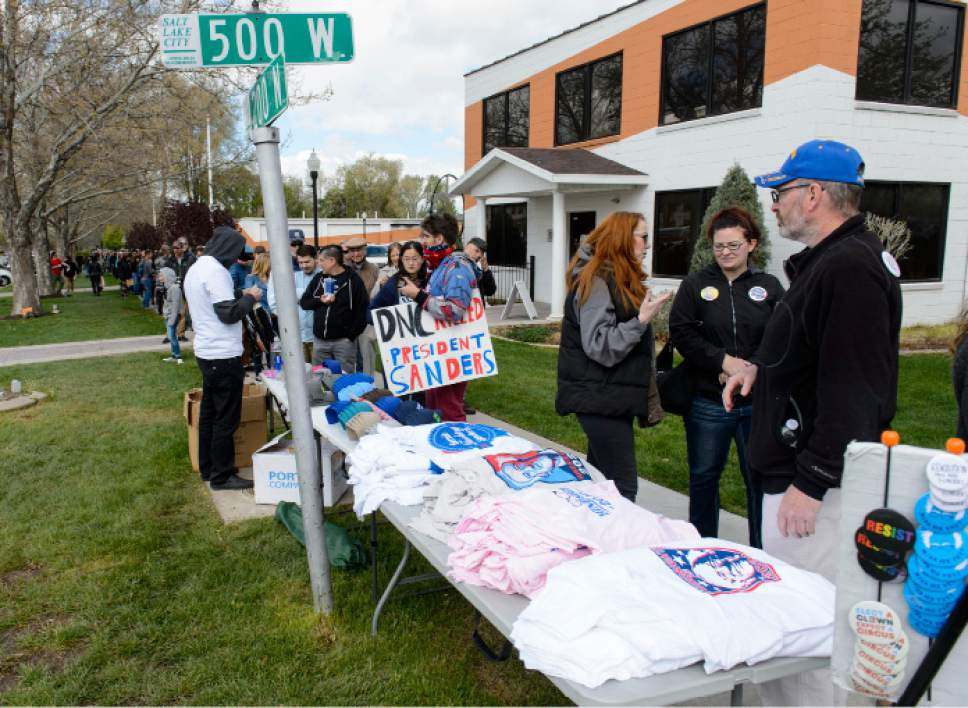 "Steve Griffin  |  The Salt Lake Tribune   People line up by the hundreds to get on to the ""Come Together and Fight Back"" featuring Bernie Sanders and Tom Perez at the Rail Center in Salt Lake City Friday April 21, 2017."