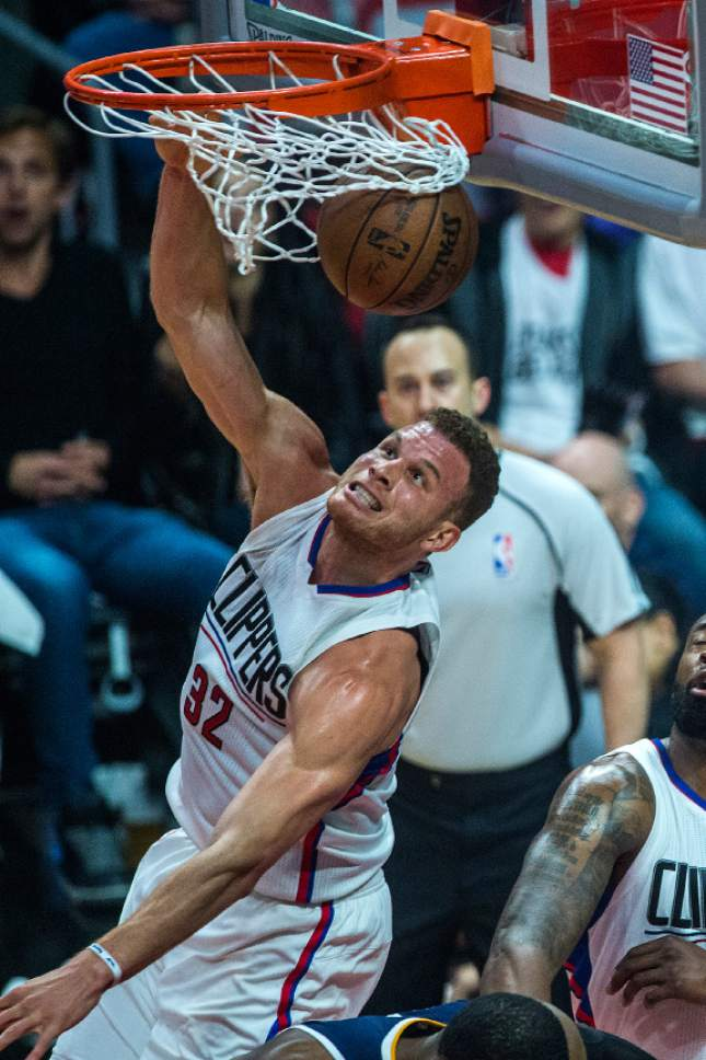 Chris Detrick  |  The Salt Lake Tribune LA Clippers forward Blake Griffin (32) dunks the ball during Game 2 of the Western Conference at the Staples Center Tuesday, April 18, 2017.