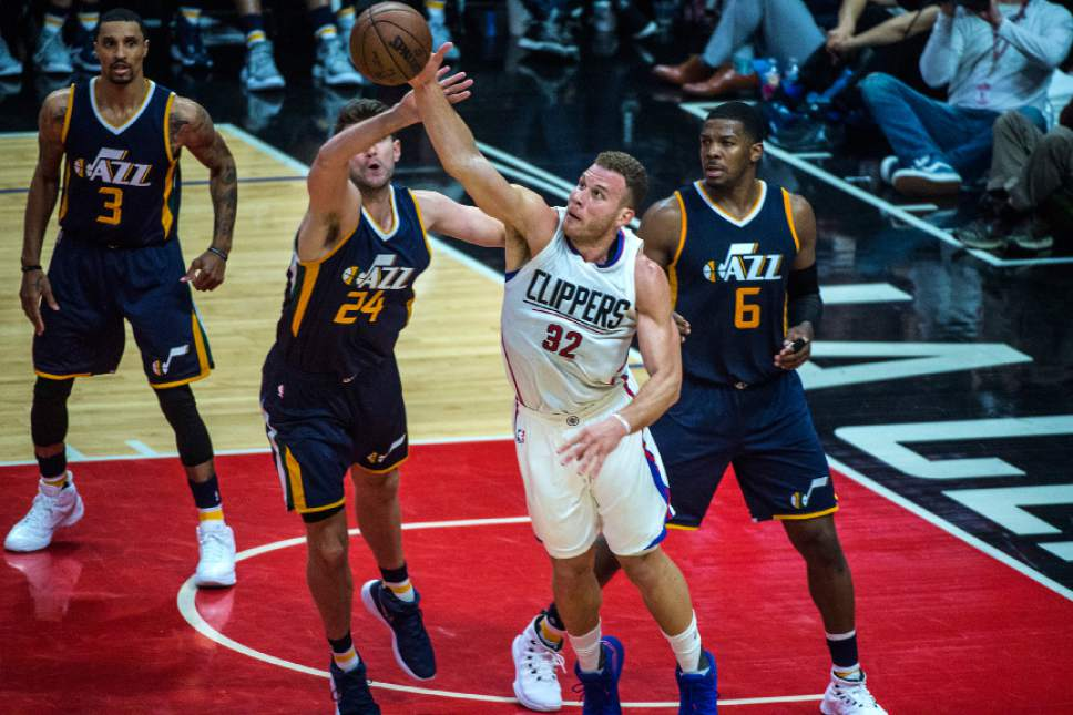 Chris Detrick  |  The Salt Lake Tribune Utah Jazz center Jeff Withey (24) LA Clippers forward Blake Griffin (32) and Utah Jazz forward Joe Johnson (6) go for a rebound during Game 2 of the Western Conference at the Staples Center Tuesday, April 18, 2017.
