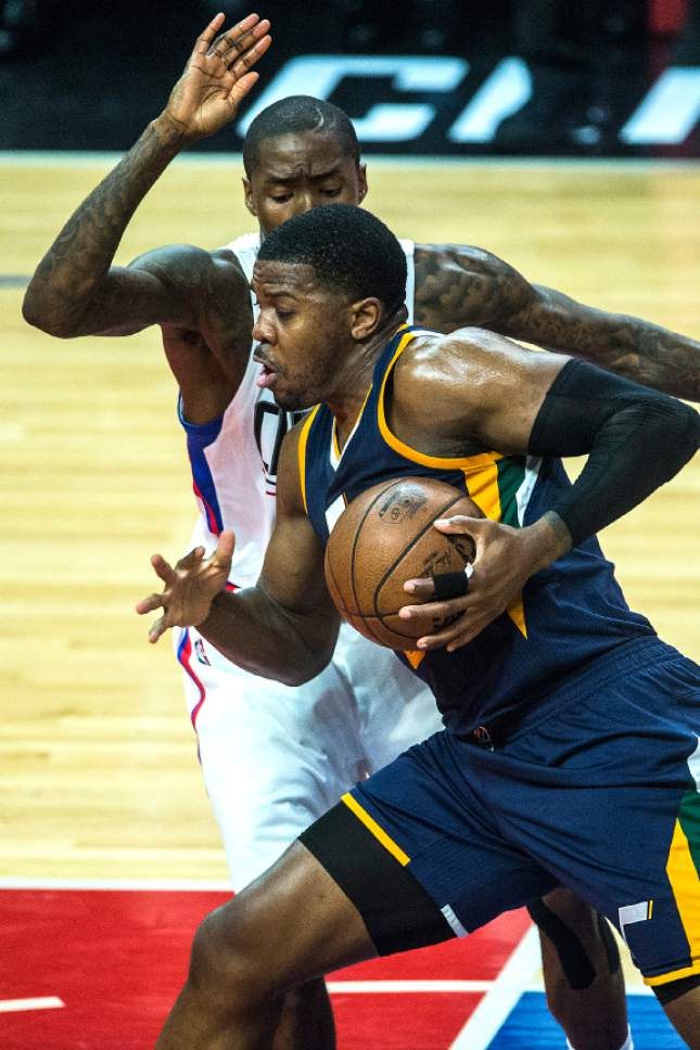 Chris Detrick  |  The Salt Lake Tribune Utah Jazz forward Joe Johnson (6) runs past LA Clippers guard Jamal Crawford (11) during Game 2 of the Western Conference at the Staples Center Tuesday, April 18, 2017.