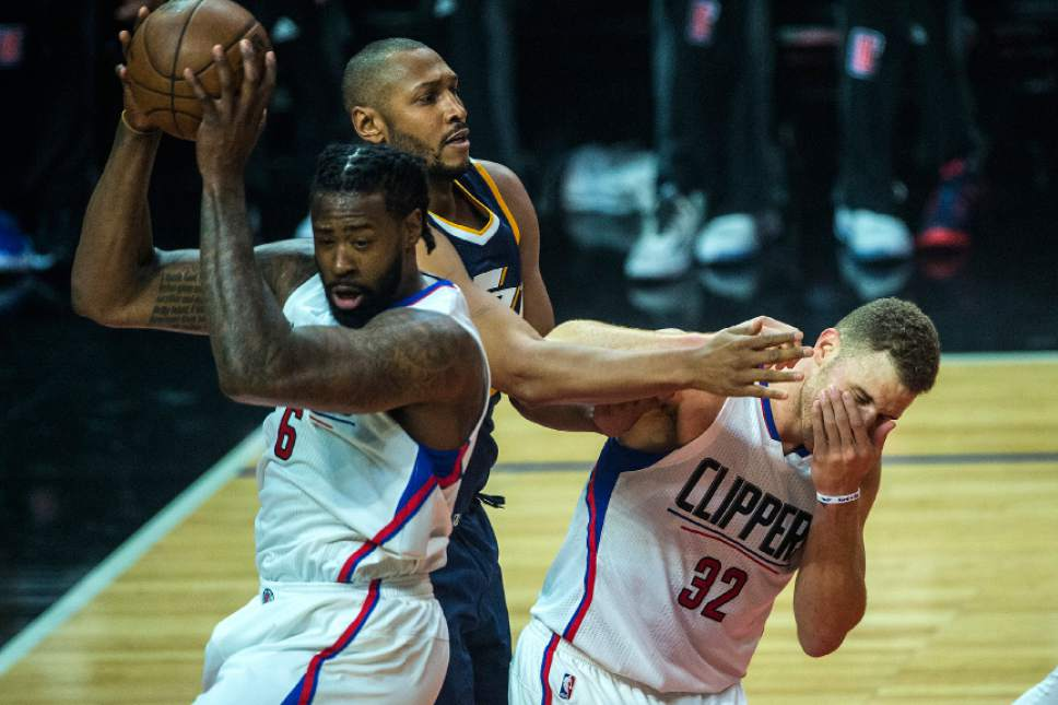 Chris Detrick  |  The Salt Lake Tribune LA Clippers center DeAndre Jordan (6) Utah Jazz center Boris Diaw (33) and LA Clippers forward Blake Griffin (32) go for a rebound during Game 2 of the Western Conference at the Staples Center Tuesday, April 18, 2017.