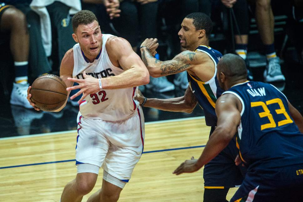 Chris Detrick  |  The Salt Lake Tribune LA Clippers forward Blake Griffin (32) runs past Utah Jazz guard George Hill (3) and Utah Jazz center Boris Diaw (33) during Game 2 of the Western Conference at the Staples Center Tuesday, April 18, 2017.