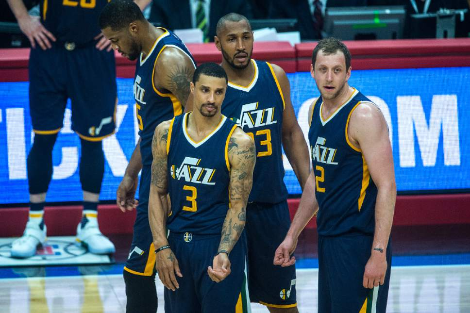 Chris Detrick  |  The Salt Lake Tribune Utah Jazz forward Derrick Favors (15) Utah Jazz guard George Hill (3) Utah Jazz center Boris Diaw (33) and Utah Jazz forward Joe Ingles (2) during Game 2 of the Western Conference at the Staples Center Tuesday, April 18, 2017.
