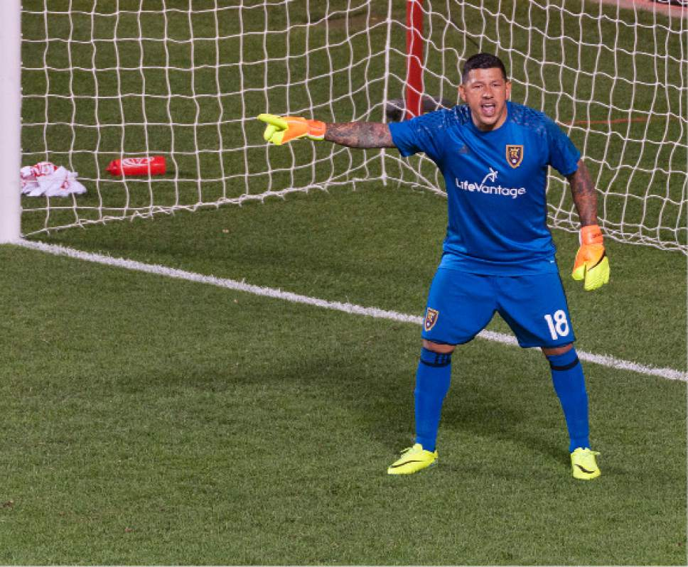 Michael Mangum     Special to the Tribune  Real Salt Lake goalkeeper Nick Rimando (18) yells to his defenders during their MLS match against the Chicago Fire at Rio Tinto Stadium in Sandy, Utah on Saturday, August 6th, 2016. Real Salt Lake won 3-1, and with the win Rimando moved to first place in all-time wins in MLS.