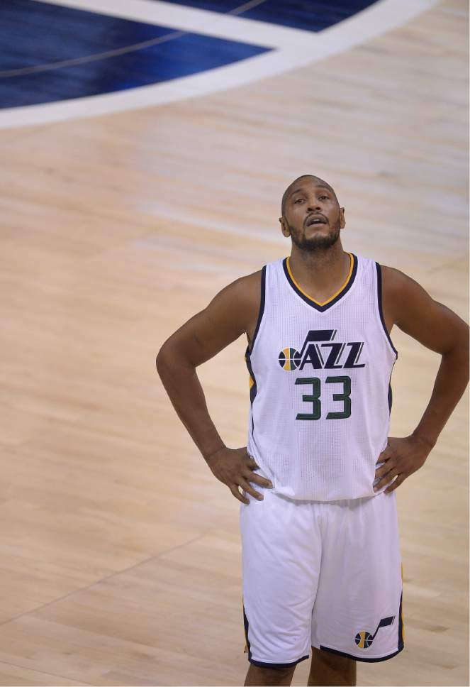 Scott Sommerdorf   The Salt Lake Tribune Utah Jazz center Boris Diaw (33) looks up after a foul call during first half play when LA eroded a large Utah lead. Utah took a 58-49 lead at the half of Game 3 of the Western Conference playoff series, Friday, April 21, 2017.