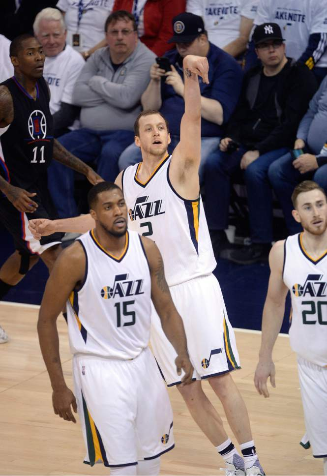 Scott Sommerdorf   The Salt Lake Tribune Utah Jazz forward Joe Ingles (2) follows the flight of a 3-point attempt during first half play. Utah took a 58-49 lead at the half of Game 3 of the Western Conference playoff series, Friday, April 21, 2017.
