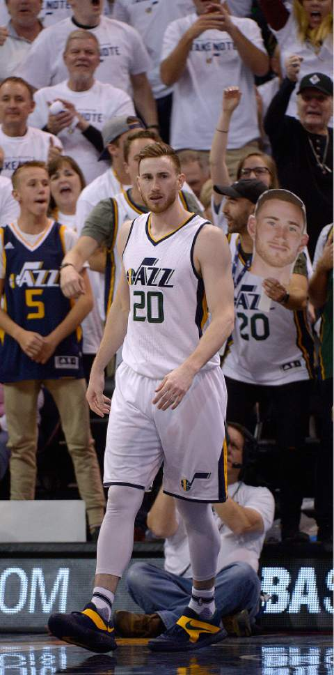 Leah Hogsten     The Salt Lake Tribune  Utah Jazz forward Gordon Hayward (20) reacts to his dunk over Clippers center DeAndre Jordan (6). The Utah Jazz lead the Los Angeles Clippers after the third quarter during Game 3 of their first-round Western Conference playoff series at Vivint Smart Home Arena, Friday, April 21, 2017.