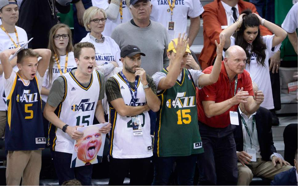 Scott Sommerdorf   The Salt Lake Tribune Jazz fans react as the Jazz lose to the Clippers at home. The LA Clippers won Game 3 of the Western Conference playoff series 111-106, Friday, April 21, 2017.