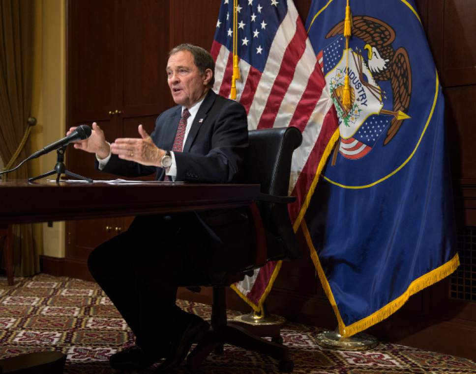 Steve Griffin  |  The Salt Lake Tribune   Gov. Gary Herbert talks with the media during the his availability in his office at the State Capitol in Salt Lake City Thursday February 9, 2017