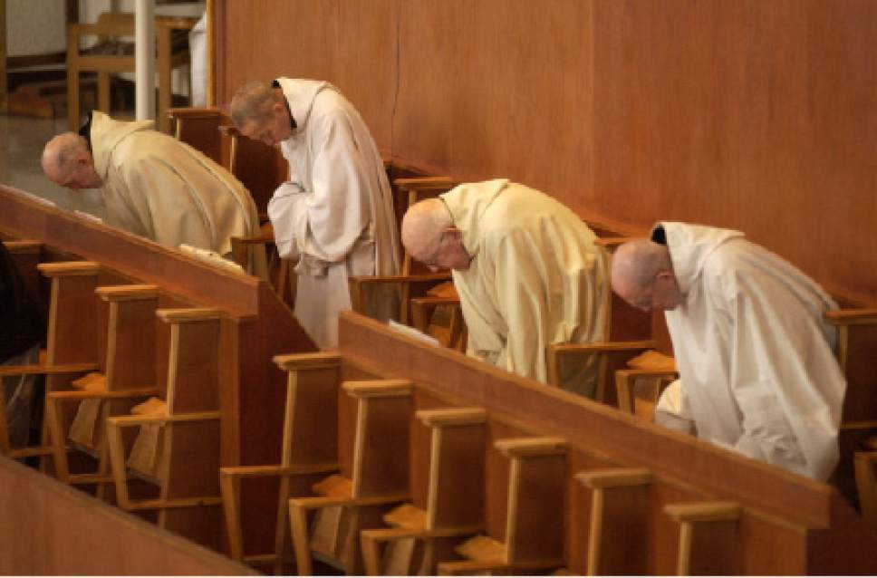 Trappist Monks chanting at the Abbey of the Holy Trinity in Huntsville, Utah. Photo by Trent Nelson 01.30.2002, 12:25:19 PM