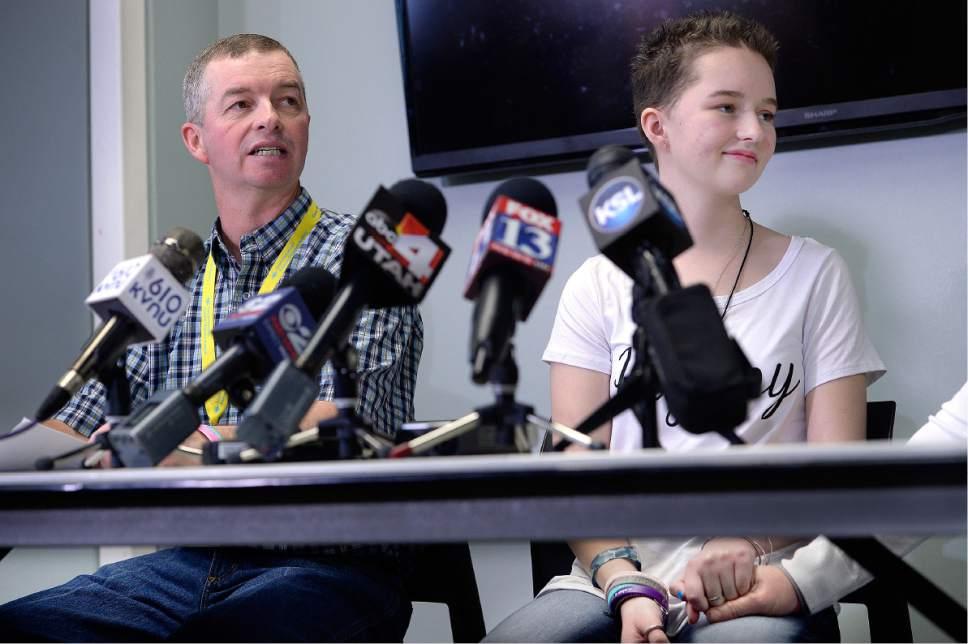 Scott Sommerdorf | The Salt Lake Tribune Deserae Turner looks toward her mother as her father speaks at a press conference at Primary Children's Hospital, Thursday, April 20, 2017.