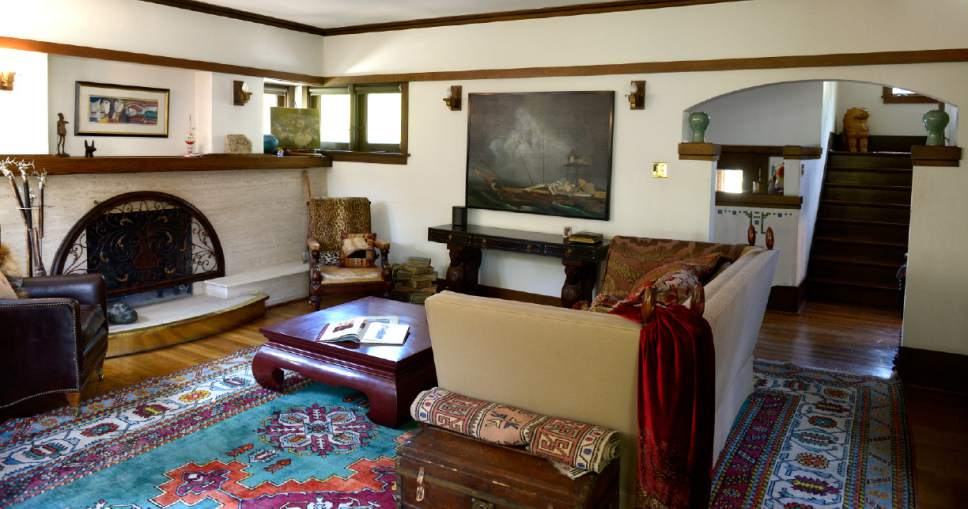 Leah Hogsten     The Salt Lake Tribune  The living room of  the B.B. Grey House, built in 1912, at 1430 E. Yale Ave. The home is one of seven in the Yalecrest neighborhood that will be featured Saturday, April 22, during Preservation Utah's 46th Annual Historic Home Tour. The Grey house was designed by Taylor Woolley, an understudy and friend of Frank Lloyd Wright. Woolley embraced Wright's philosophy in his design for the Grey House that joins the house and its surroundings in perfect harmony.