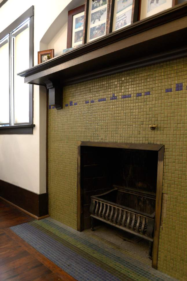 Leah Hogsten     The Salt Lake Tribune  The B.B. Grey House, built in 1912, at 1430 E. Yale Ave., is one of seven in the Yalecrest neighborhood that will be featured Saturday, April 22, during Preservation Utah's 46th Annual Historic Home Tour. Pictured, the original tile fireplace in the guest bedroom.