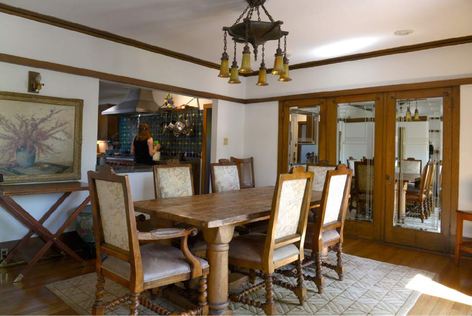 Leah Hogsten     The Salt Lake Tribune  The dining room of  the B.B. Grey House, built in 1912, at 1430 E. Yale Ave. The home is one of seven in the Yalecrest neighborhood that will be featured Saturday, April 22, during Preservation Utah's 46th Annual Historic Home Tour. The Grey house was designed by Taylor Woolley, an understudy and friend of Frank Lloyd Wright. Woolley embraced Wright's philosophy in his design for the Grey House that joins the house and its surroundings in perfect harmony.