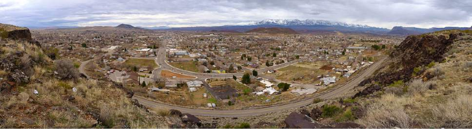Trent Nelson | The Salt Lake Tribune Utah Hike of the Week: Overlooking State Street in Hurricane, Sunday, Feb. 12, 2017.