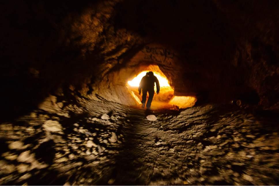 Trent Nelson | The Salt Lake Tribune The trail turns into a tunnel, near Hurricane, Sunday, Feb. 12, 2017.